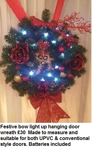 Festice bow light up hanging door wreaath | Florists Widnes | Flowers by Carol