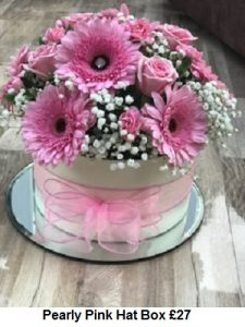Pearly Pink Hat Box| Florists Widnes | Flowers by Carol