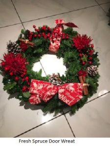 Fresh Spruce Door Wreath| Florists Widnes | Flowers by Carol