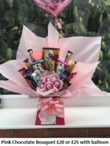 Pink Chocolate Bouquet| Florists Widnes | Flowers by Carol