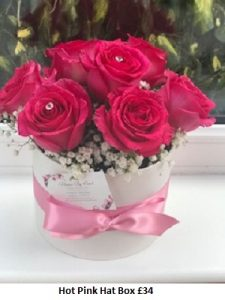 Hot Pink Hat Box| Florists Widnes | Flowers by Carol